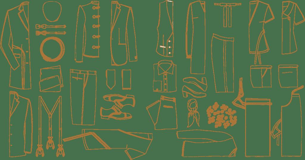 Illustratie collectie hotelkleding Convervatorium Hotel Suit Up