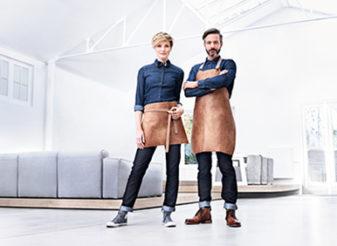 Horeca-kleding-denim-shirt-leder-sloof